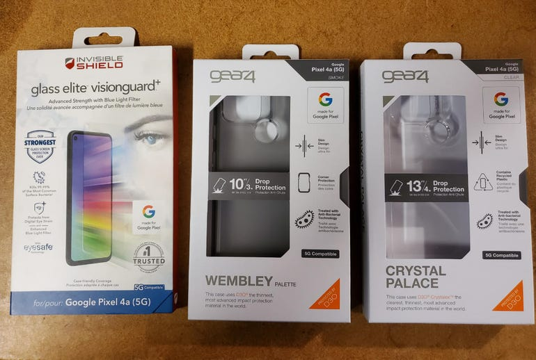 InvisibleShield protector, Wembley, and Crystal Palace Gear4 cases