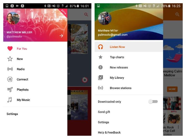 Main menu in both apps