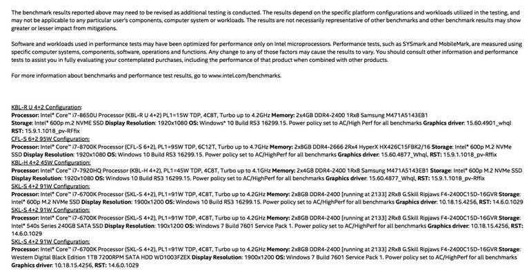 Intel benchmark results (click to enlarge)