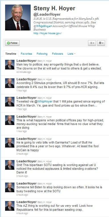 The twitter account @leaderhoyer on 1/26/11.