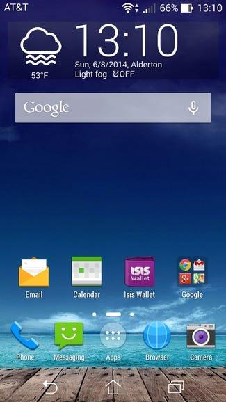 Home screen in smartphone mode