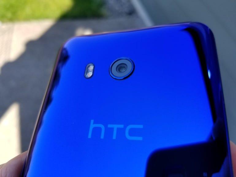 Rear camera, flash, and HTC logo
