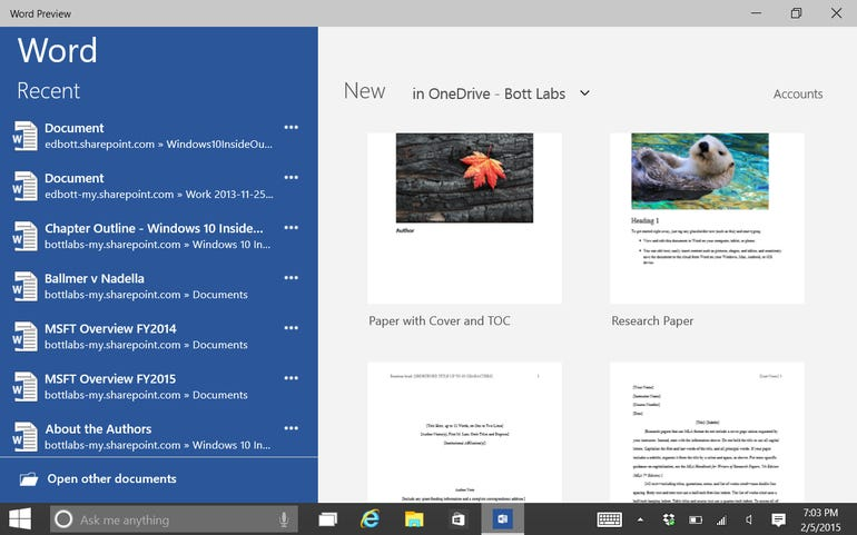 Recent files and templates in Backstage view