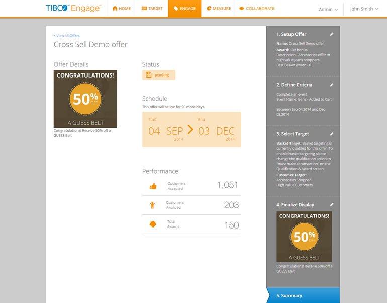 4. TIBCO Engage - 50% off Engagement Summary
