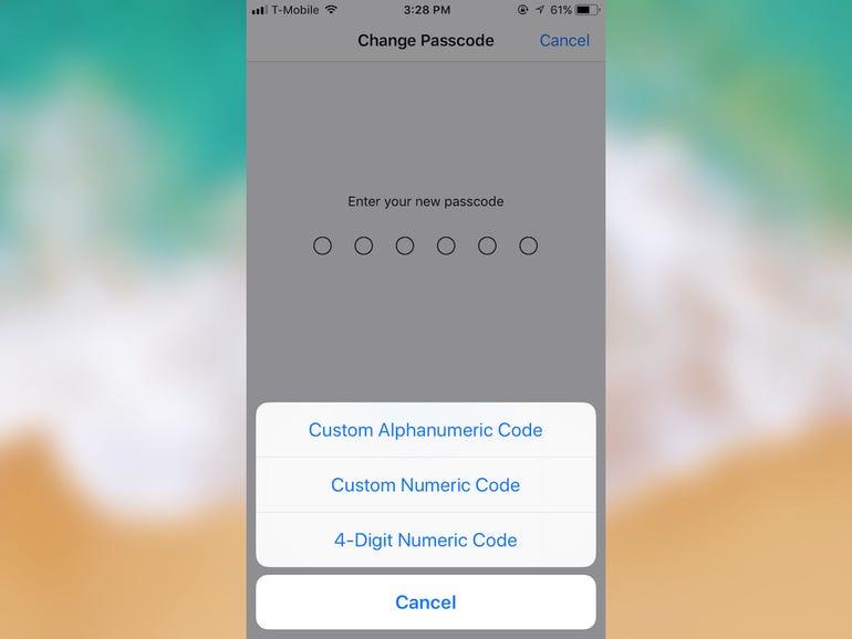 Set a strong six-digit (or longer) passcode