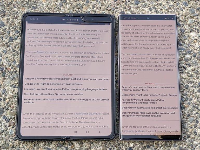 ZDNet website, Fold vs Note 10+