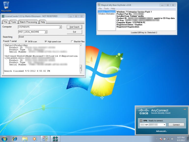 Windows 7 Enterprise SP1 and Office 2010 licenses, as well as VPN specs