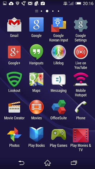Another view of the apps on my Z3