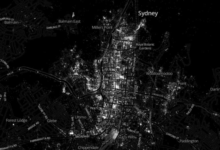 A 'hotmap' image of all Sydney CBD Foursquare check ins in the first quarter of 2013.