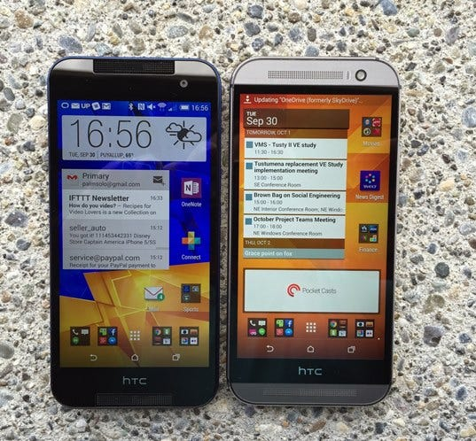 HTC Butterfly 2 and HTC One M8 typical home screen panel