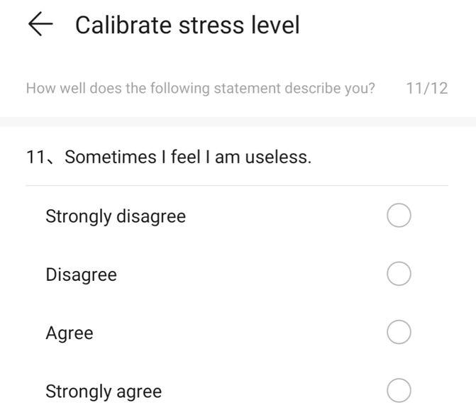 Stress level calibration quiz