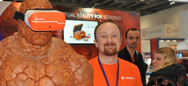 Rupert Rawnsley with The Thing from Fantastic Four wearing a ClassVR headset
