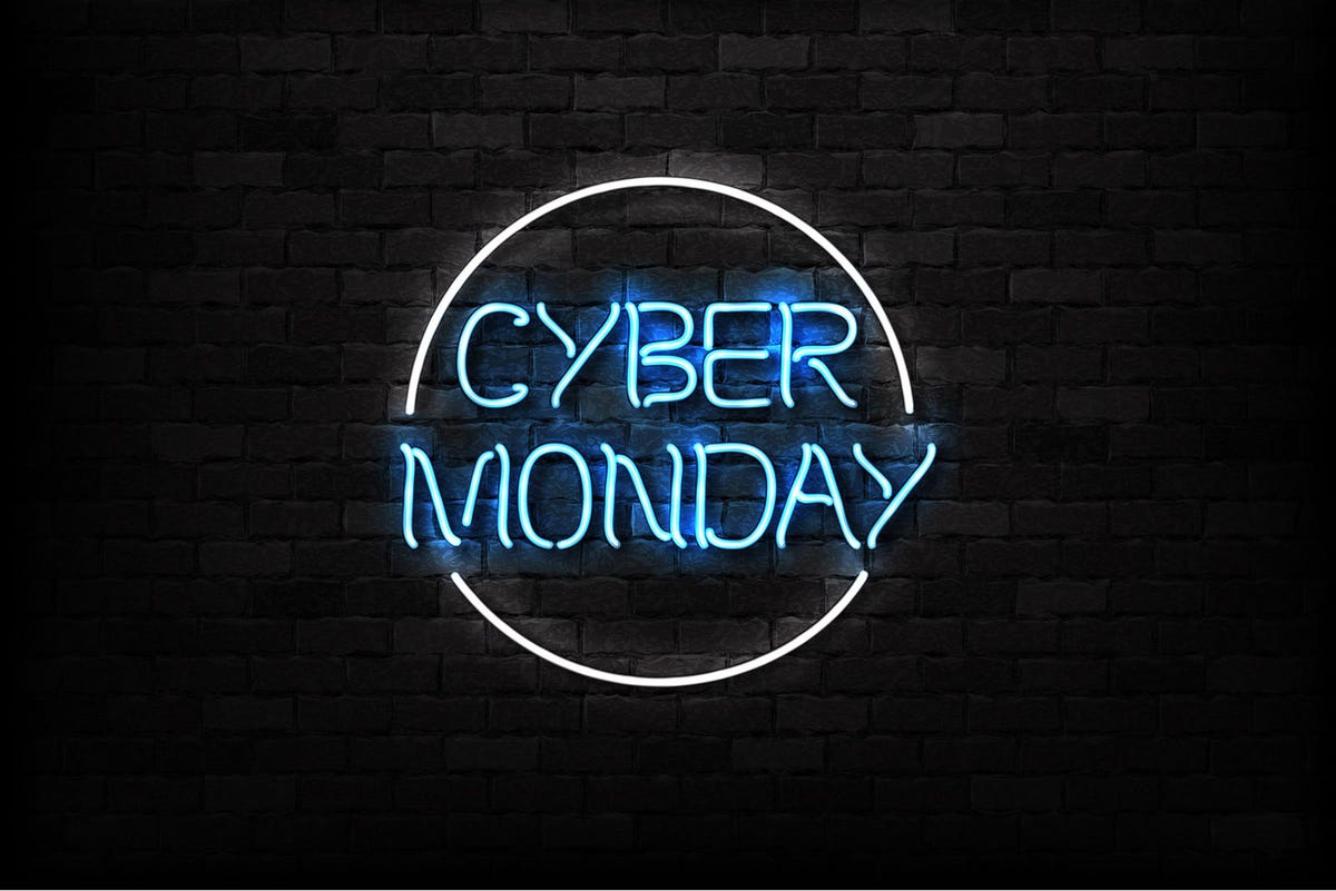 Vector realistic isolated neon sign of Cyber Monday symbol for decoration and covering on the wall background. Concept of electronics market, sale and discount.