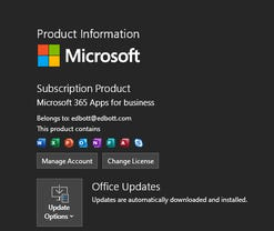 Microsoft 365 Apps for Business product information dialog box