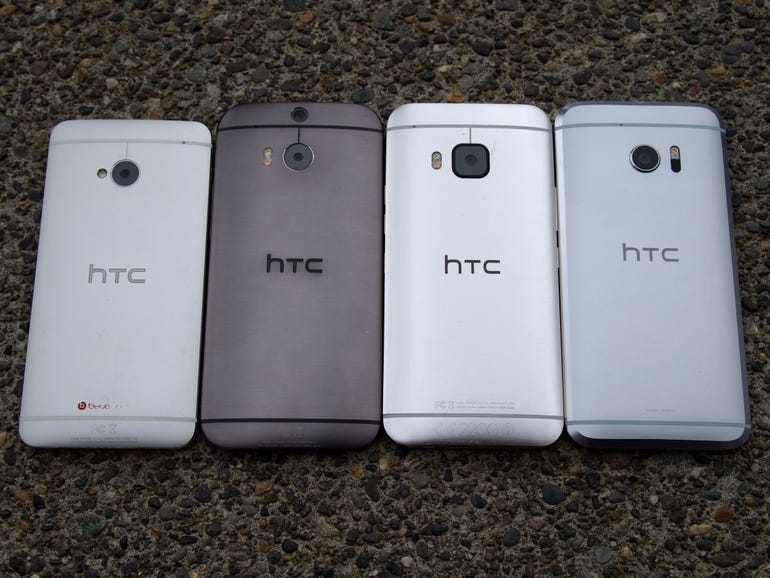 Back of the HTC One M7, M8, M9, and HTC 10