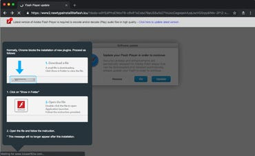 Popup pushing Shlayer-infected apps