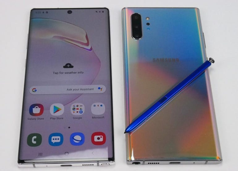 Front and back of the Note 10 Plus