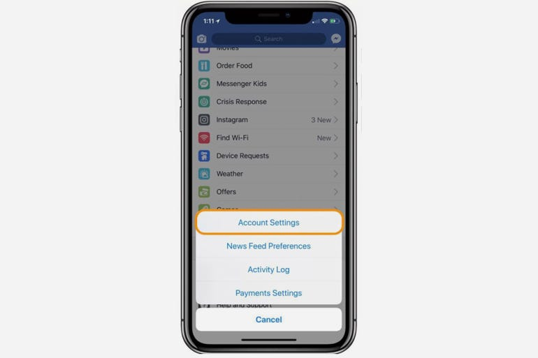 How to access Facebook's App Settings page from iOS devices