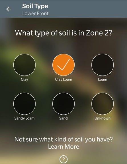Soil type selection