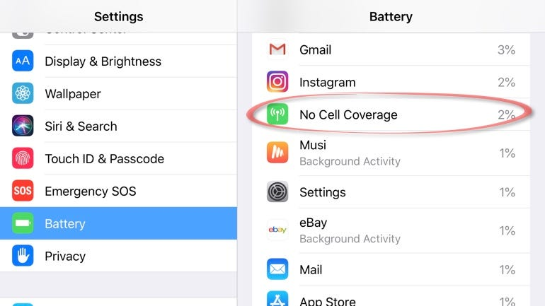 No cell coverage