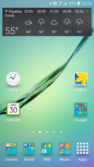 Typical home screen panel