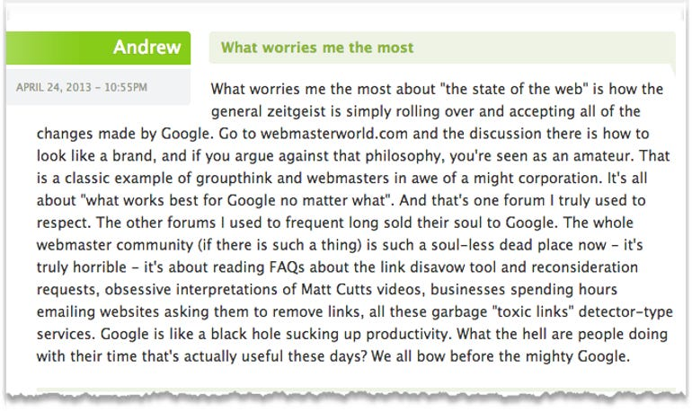 Worries about the web
