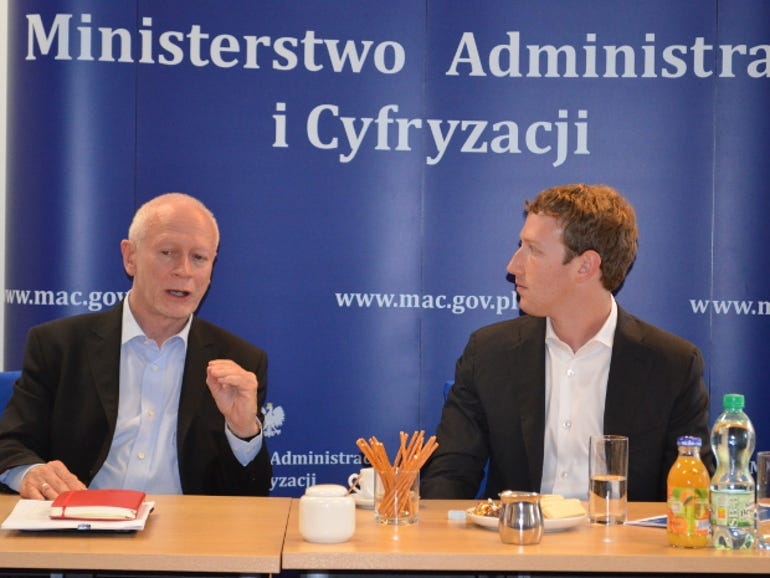 Michal Boni and Mark Zuckerberg at yesterday's meeting in Warsaw.