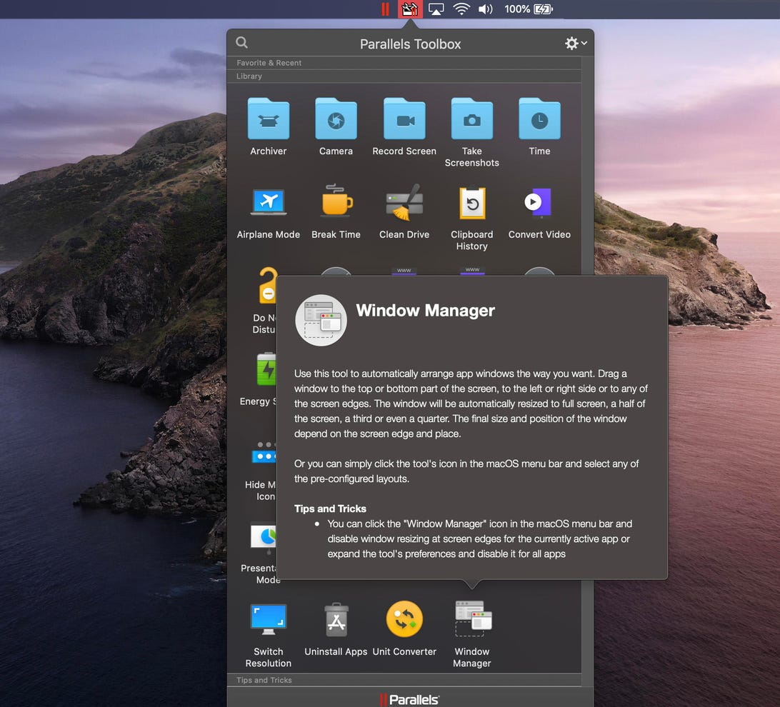 parallels-toolbox-window-manager-macos-screenshot