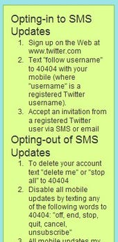 Twitter's terms of service panel on SMS