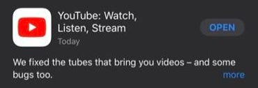 YouTube iOS app release notes