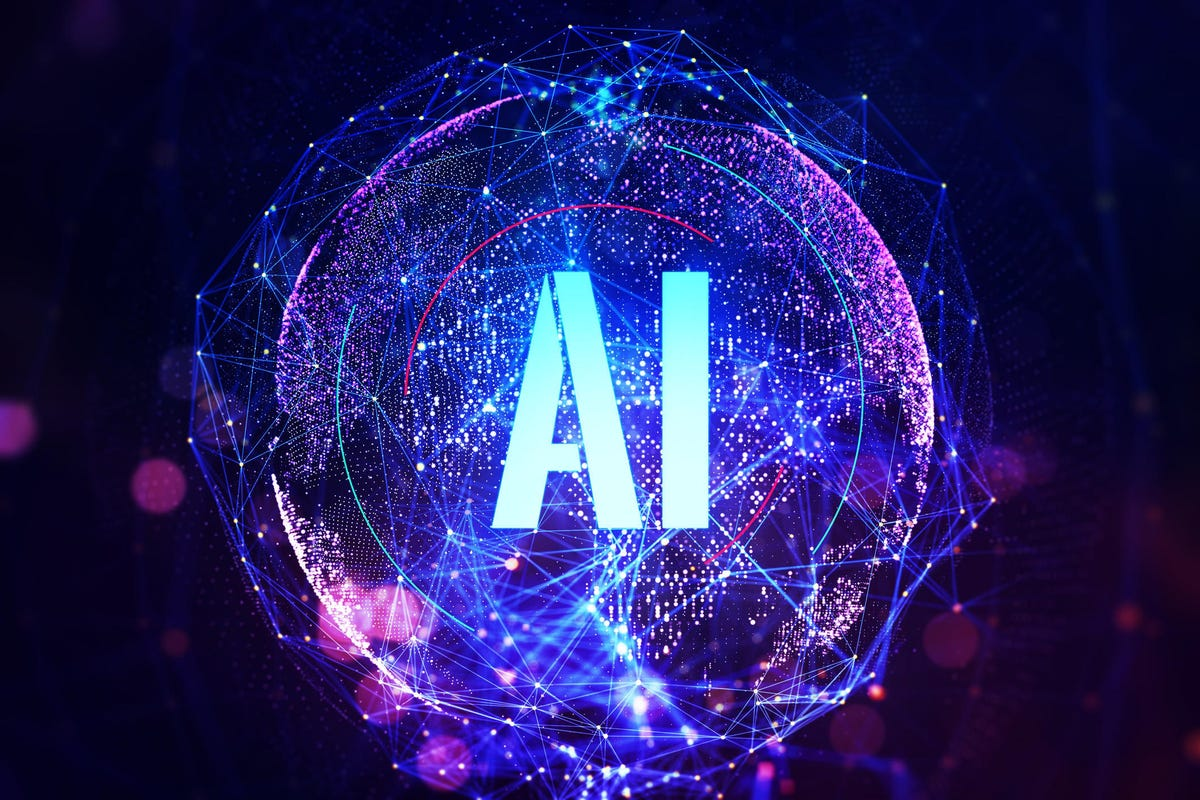 Abbreviation is Artificial Intelligence on a digital globe background. Machine learning concept. 3D Rendering