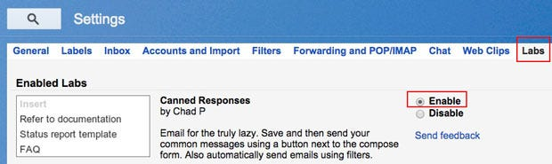 Install Gmail's Canned Responses