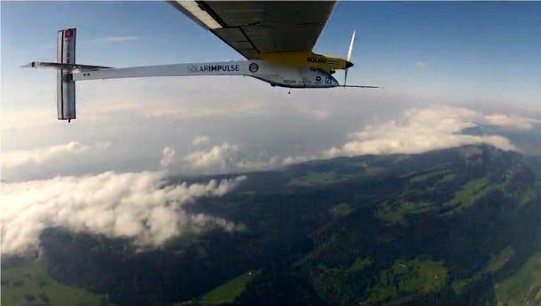 Solar Impulse's solar-powered plane in flight