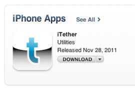 iTether slips into the App Store. Get it while you can!