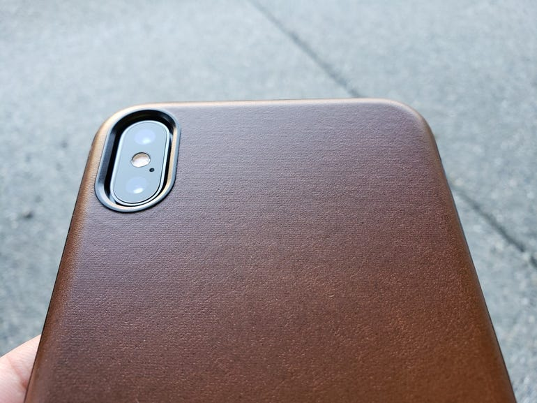 Awesome Horween leather back panel of the Rugged Case