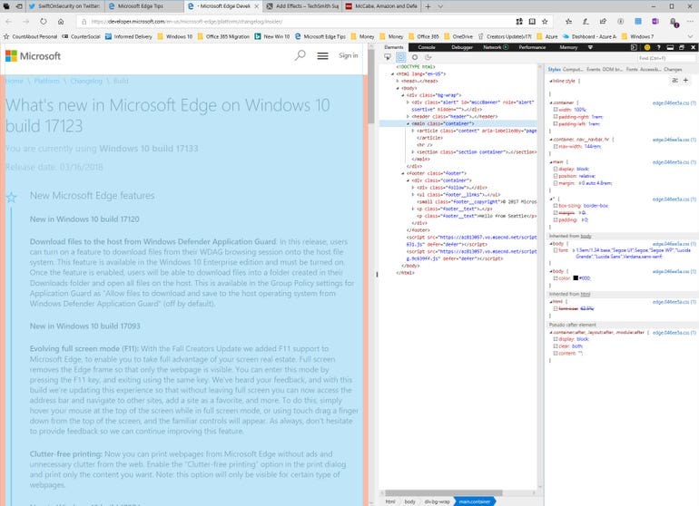 Dock F12 developer tools to the right of an Edge window