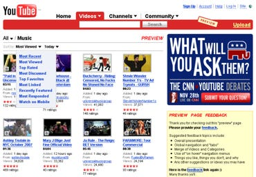 YouTube lets us preview their new website
