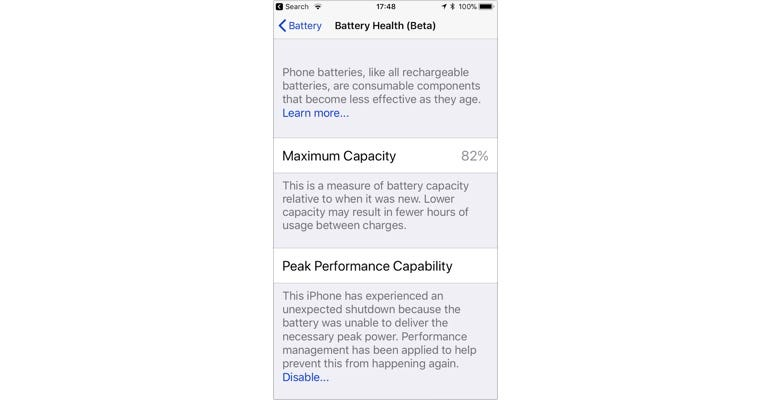 iOS 11.3 showing that there's been a crash due to worn battery