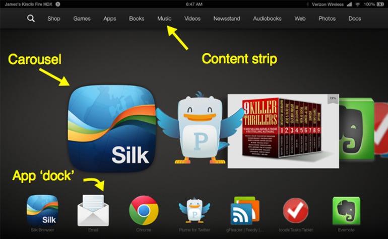 Kindle Fire HDX home screen