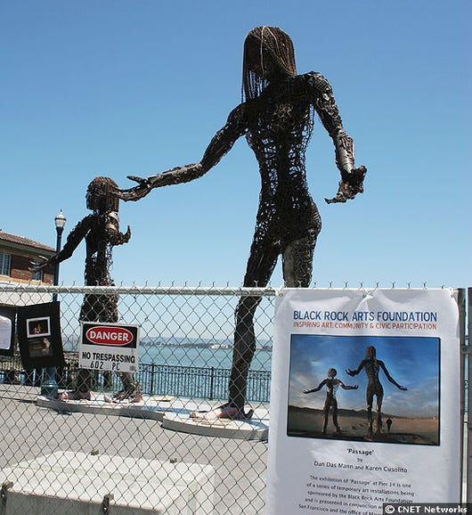 """The sculpture """"Passage,"""" installed at San Francisco's Pier 14"""