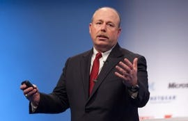 Microsoft COO Kevin Turner touts Windows 8 at the CeBIT tech show in Hanover, Germany.