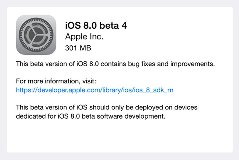 iOS 8 beta 4 released to developers, includes new Tips app - ZDNet