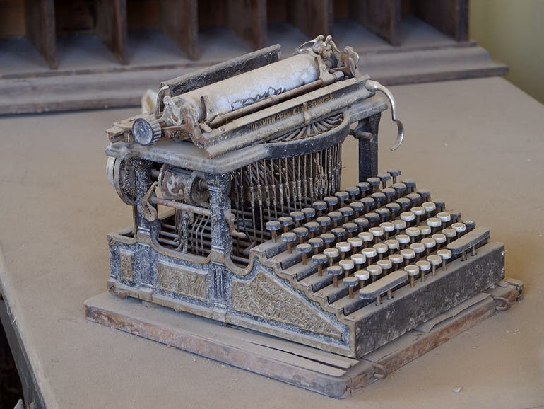 This Smith Premier typewriter, purchased around the end of the 19th century, was found abandoned in the Bodie, California ghost town.