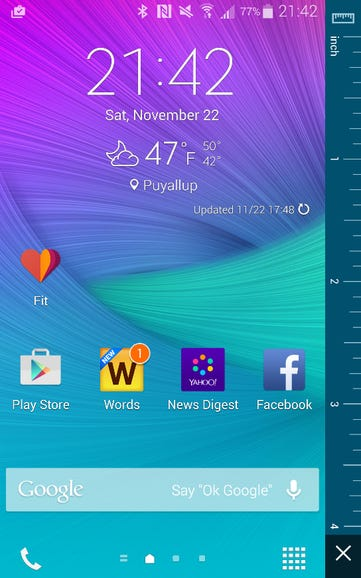 SI units ruler and typical home screen panel