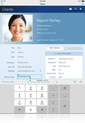 This database record uses a special keypad specifically for telephone number entry.