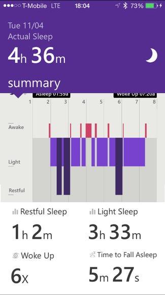 Sleep data in the Microsoft Health app