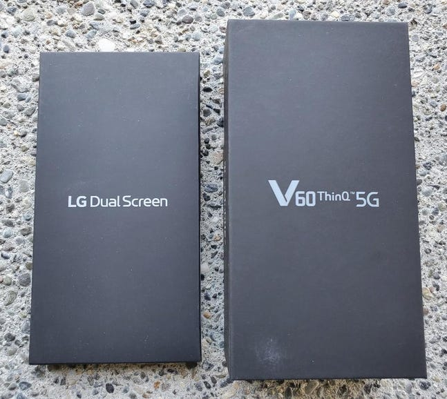 T-Mobile LG V60 5G and Dual Screen retail package
