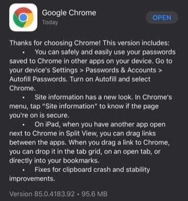 Google Chrome iOS app release notes