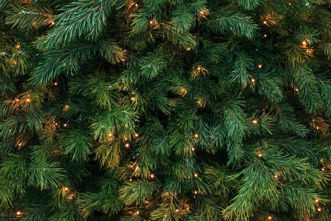 Pattern with green branches with pine illuminated garlands lights, soft focus