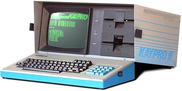 It wouldn't have been the $2,800 price ($6,000 in today's dollars) that would've kept employees from buying and bringing this Kaypro 10 to work in 1983, it would've been its rotator-cuff-tearing 29-pound weight.